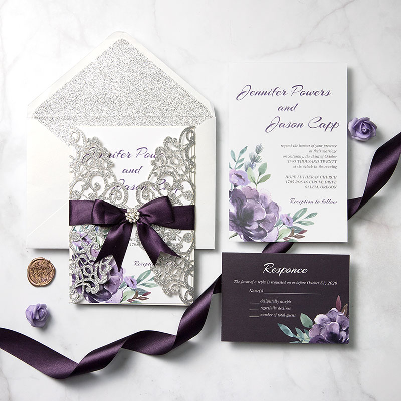 Plum and Mauve Elegance Silver Glitter Wedding Invitations PWIL092