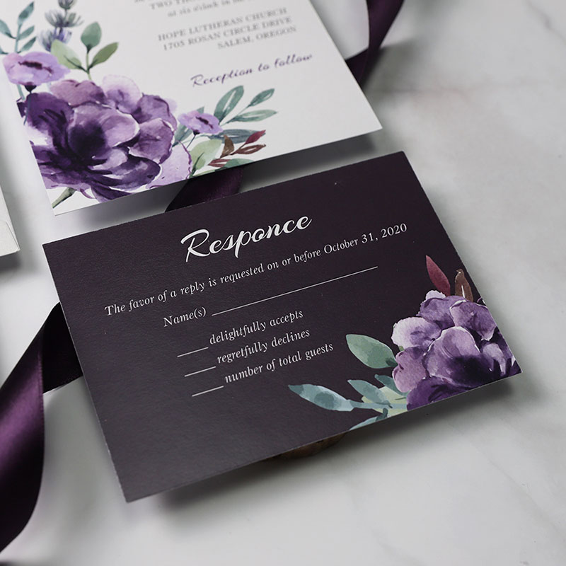 Plum and Mauve Elegance Silver Glitter Wedding Invitations PWIL092