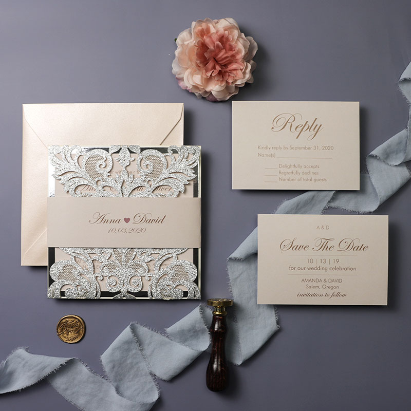 Blush and Glitter Silver and Dove Gray wedding invitations