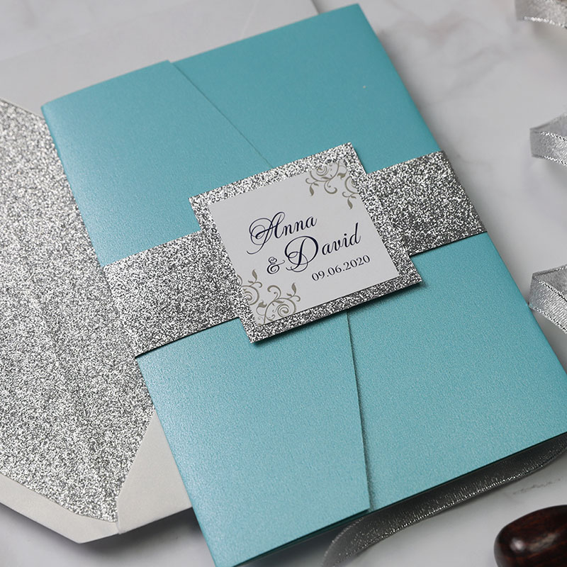 Modern Tiffany Blue Laser Cut Silver Glitter Wedding Invitations Pwil095 Pro Wedding Invites