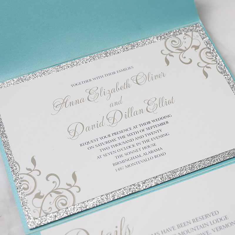 Modern Tiffany Blue Laser Cut Silver Glitter Wedding Invitations PWIL095