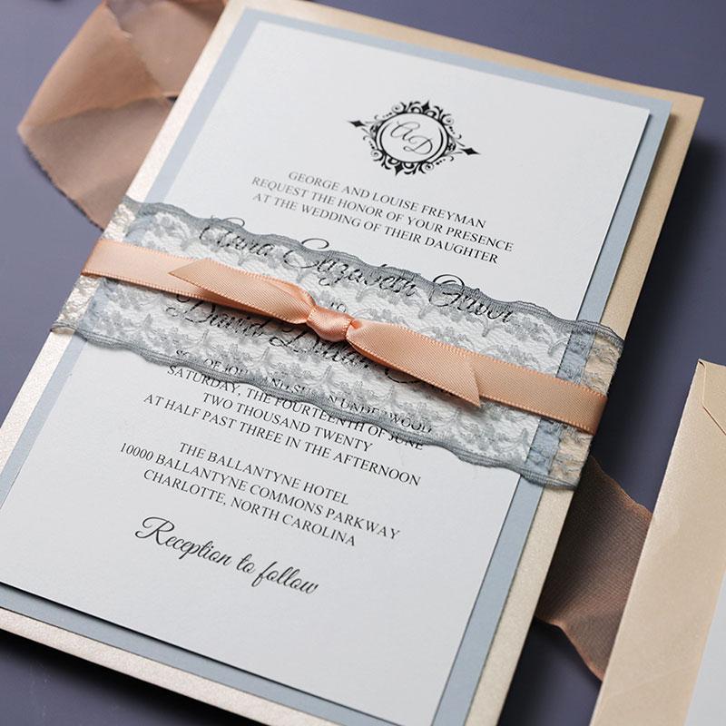 Vintage Lace Shade of White Dusty Blue Wedding Invitations PWIM011