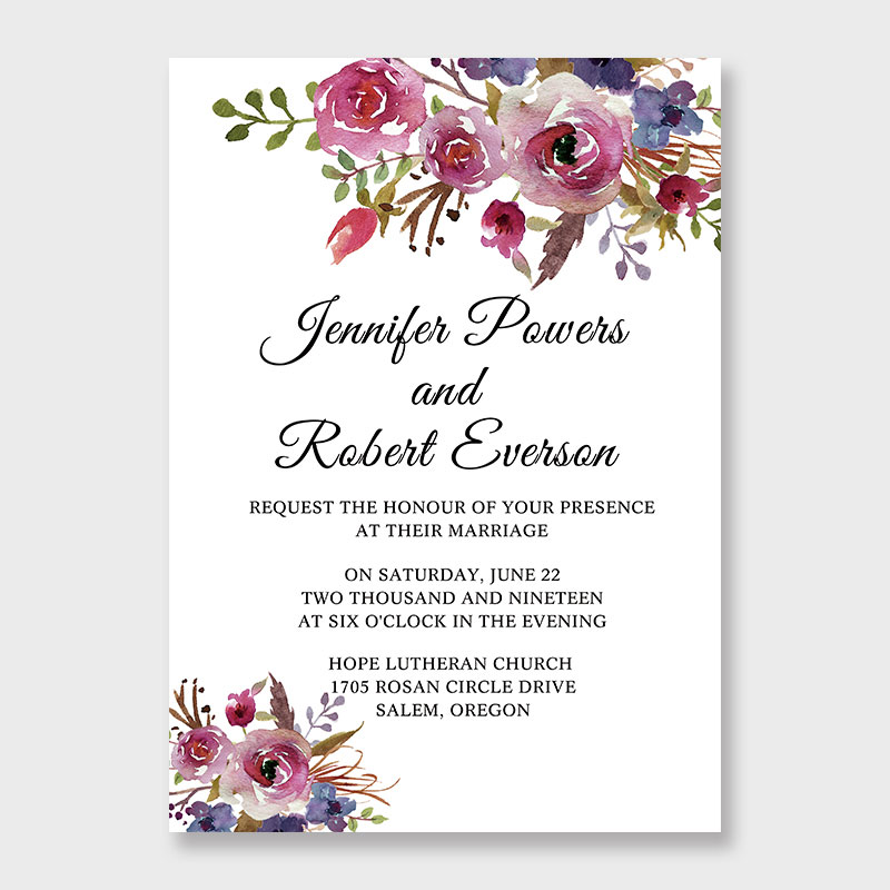 Spring Magenta Shades Of Purple Wedding Invitations PWIF065