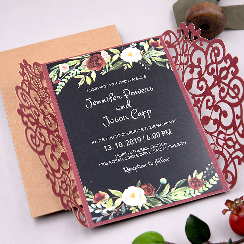 Midnight Garden-burgundy Laser Cut Wrap With Burgundy And Blush Floral On Black Paper PWIL101