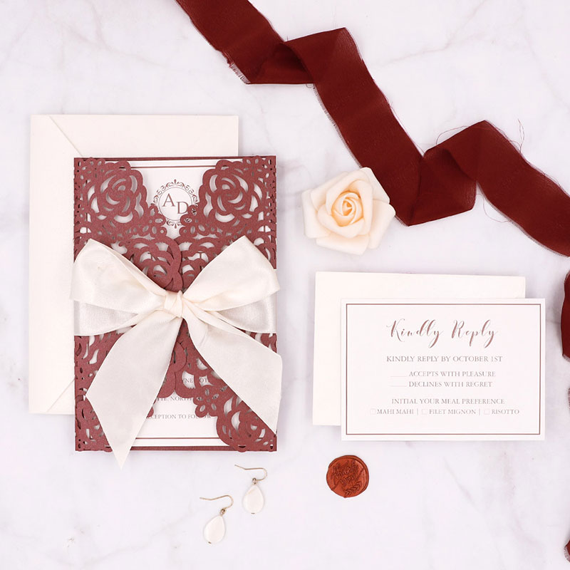 Vintage Burgundy Monogram Laser Cut Wedding Invitations PWIL102