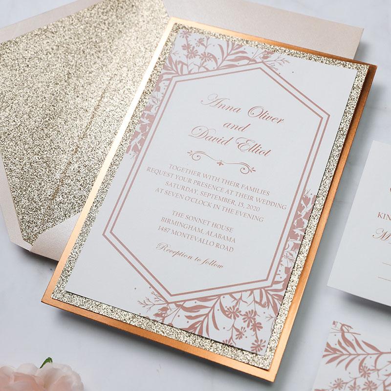 Rose Gold Glitter Roses Wedding Invitation with Blush Envelopes PWIM013
