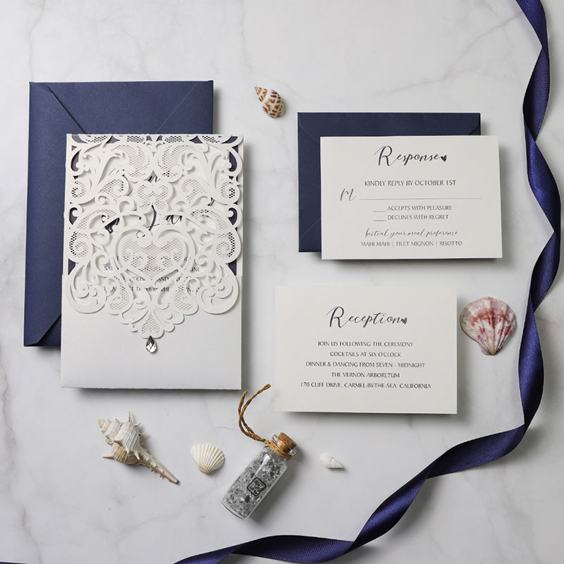 Classic White Pocket Laser Cut Wedding Invitations With Navy Blue Backer PWIM014