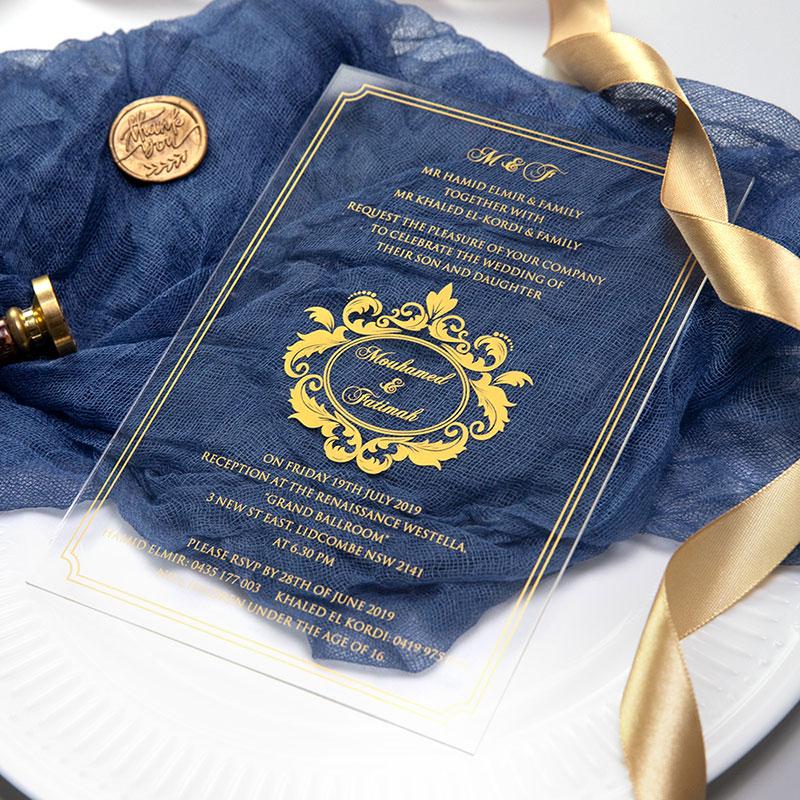 diy acrylic wedding invitation card with foils