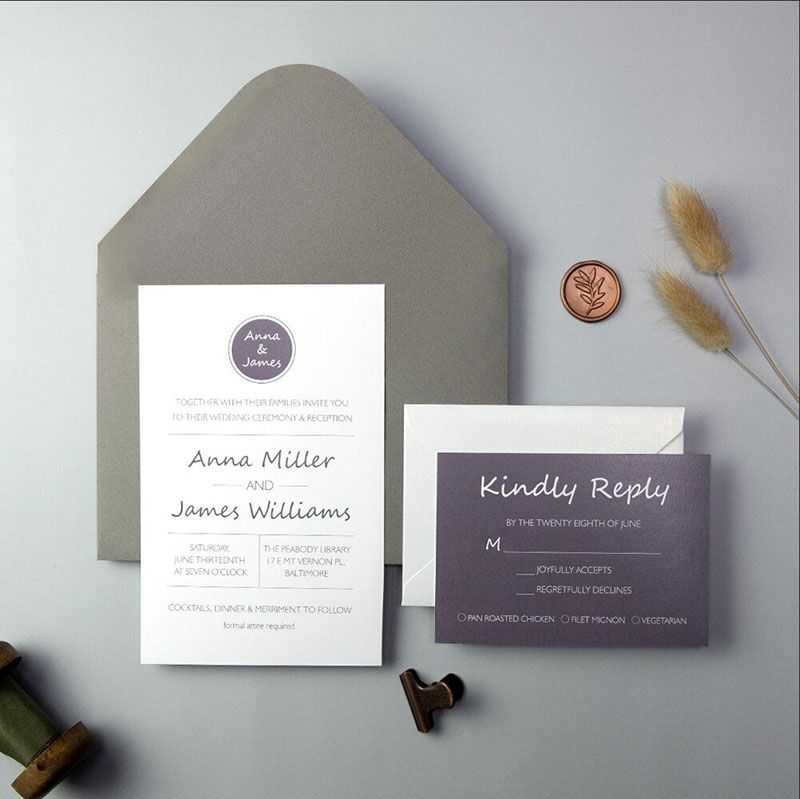 Classic Plum Silver and Dove Gray wedding invitations