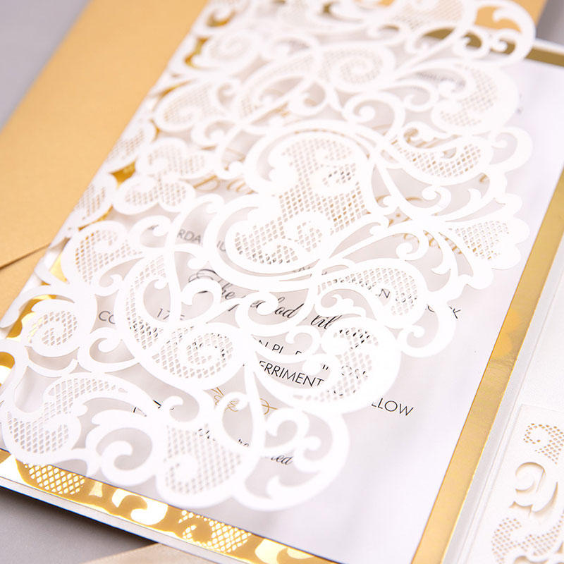 Ivory Laser Cut Pocket Fold With Modern Invitation Set On A Mirrored Backer With Personalized Tag For Finishing PWIL096