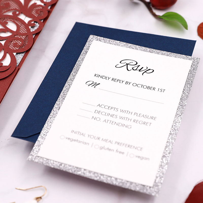 Simple Burgundy Pink Laser Cut Wedding Invitation PWIL104