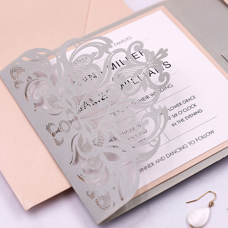 Blush and Gray Elegant Laser Cut Pocket Wedding Invitations PWIL106
