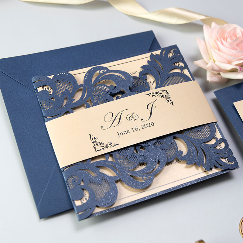 Classic Navy Blue And Gold Laser Cut Wedding Invitations With Belly Band PWIL107