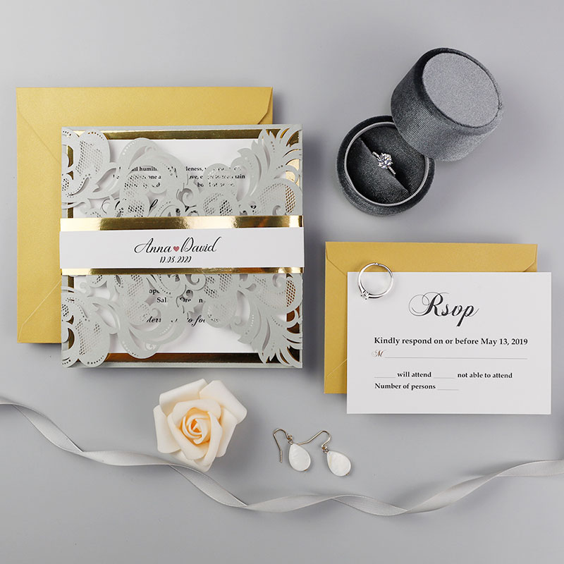 Silver Laser Cut With Gold Mirror Backer Wedding Invitations PWIL109