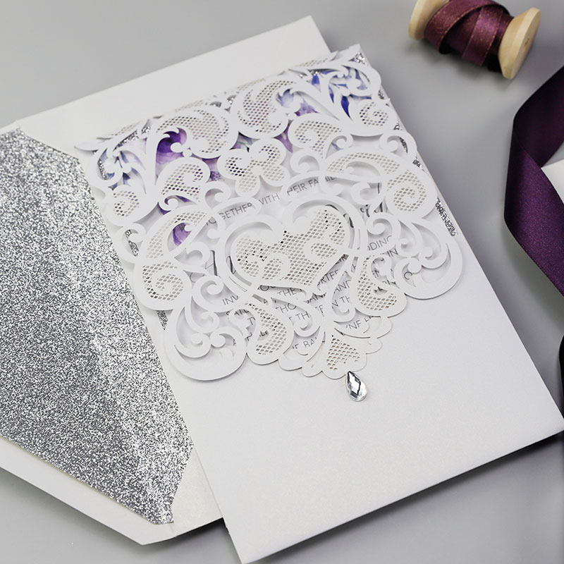 Romantic Watercolor Lavender Floral White Shimmer Wedding Invitation PWIL110