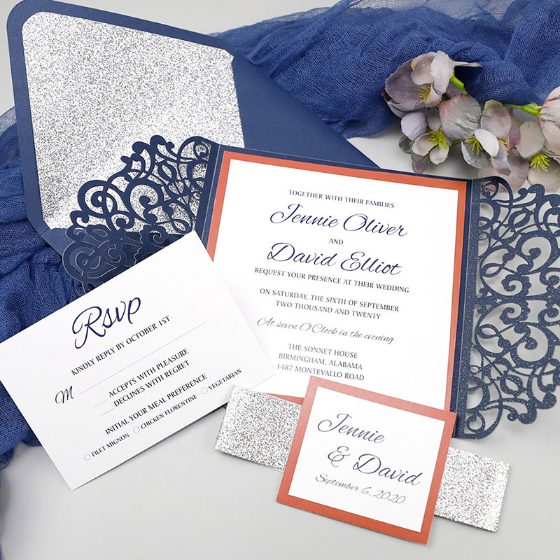 Silver Glitter Lasercut invitation Orange Liner Navy Blue Invitation PWIL112