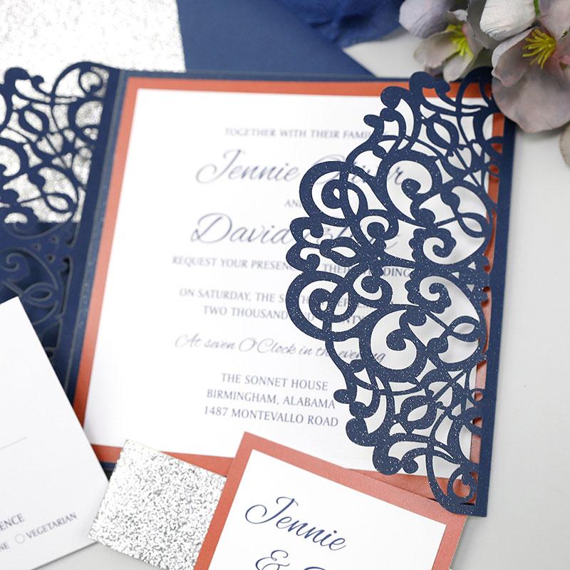 Silver Glitter Lasercut invitation Orange Liner Navy Blue Invitation PWIL112