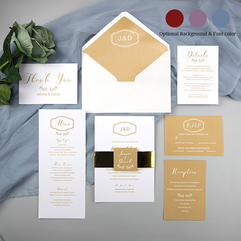 Simple Gold Monogram Wedding Invitations With Gold Mirror Paper Belly Band And Tags PWIL114