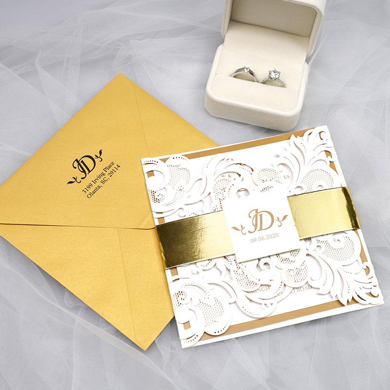 Elegant Gold & Ivory Luxury Laser Cut Wedding Invitation PWIL115