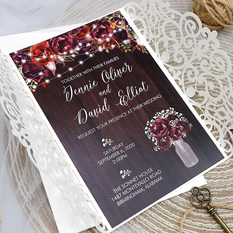 Rustic Baby\'s Breath Burgundy Floral Wood Ivory Laser Cut Wedding Invitation PWIL116