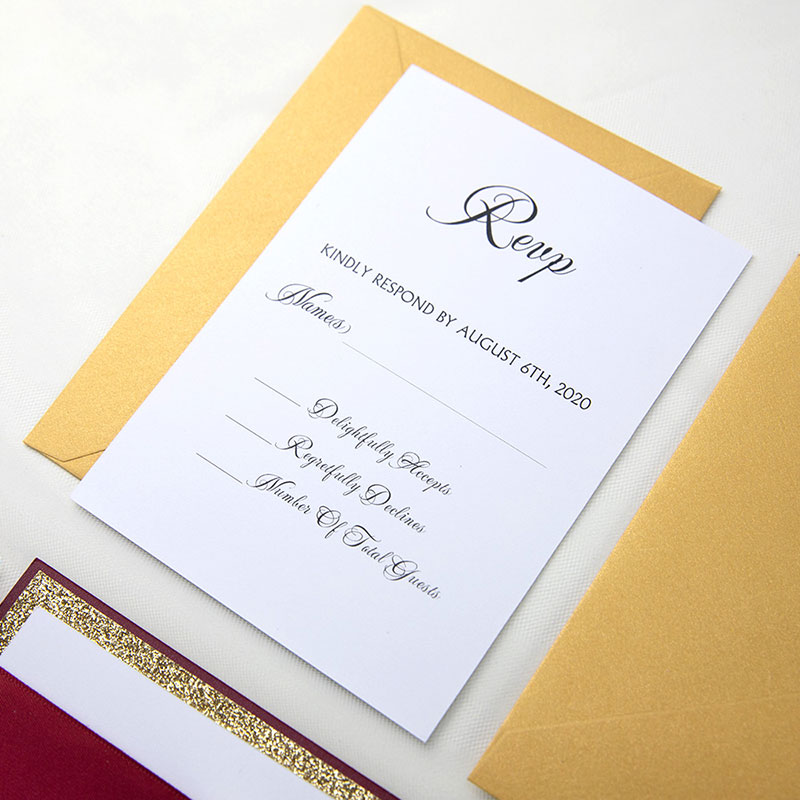 Burgundy & Gold Glitter Laser Cut Lace Wedding Invitation PWIL118
