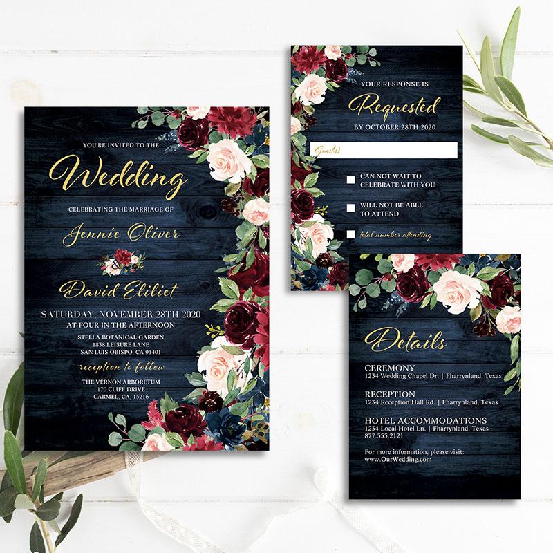 Rustic Navy Burgundy Blush Floral Wooden Wedding Invitation