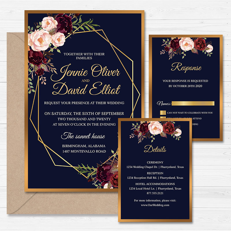 Navy Blue Geometric Floral Wedding Invitation with Gold Mirror Backer PWIF054