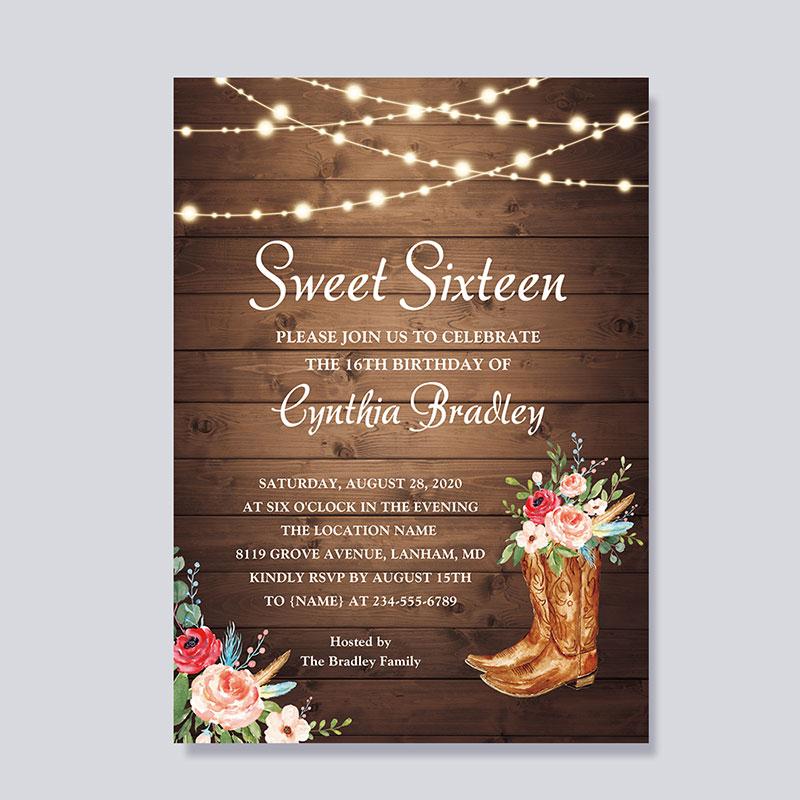 Rustic Boots Cowgirl Sweet Sixteen 16 Birthday Invitation PWIT005