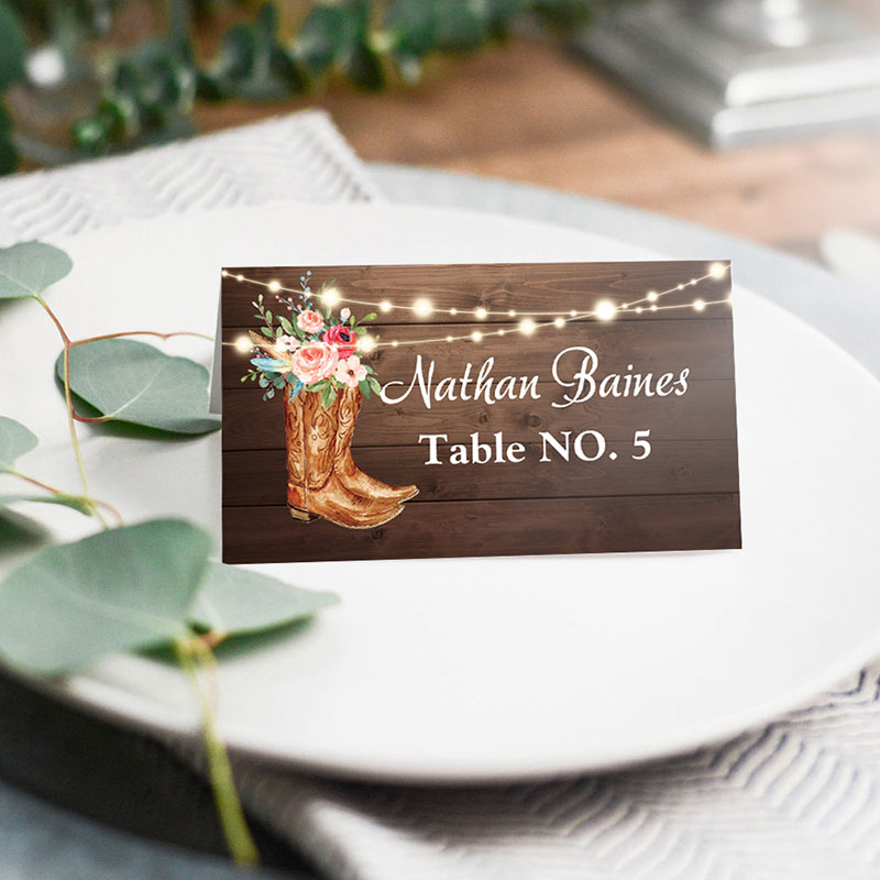 Rustic Boots Cowgirl Western Wedding Place Card PWIW001