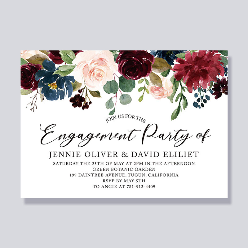 Elegant Watercolor Rustic Engagement Party Invitations PWIE002