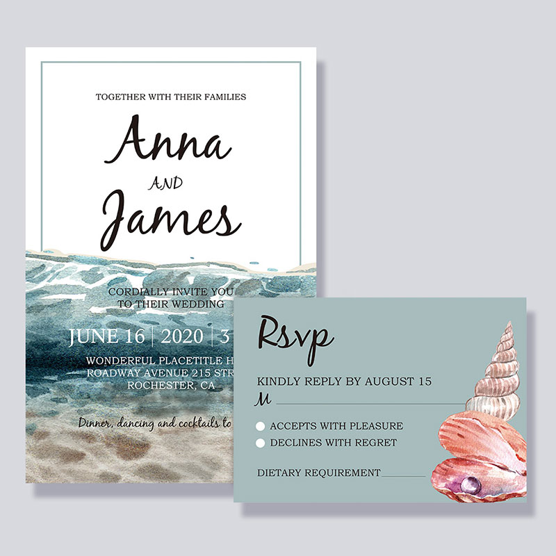 Ocean Beach Style Wedding Invitation Cards PWIF057