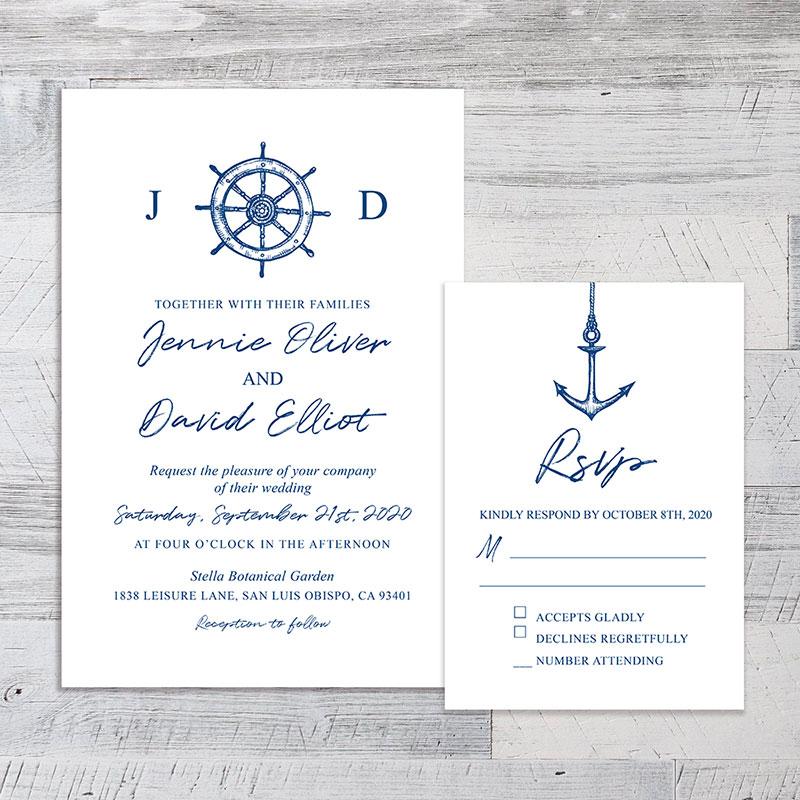 Navy Nautical Wedding Invitation Cards With Custom Round Sticker PWIF059