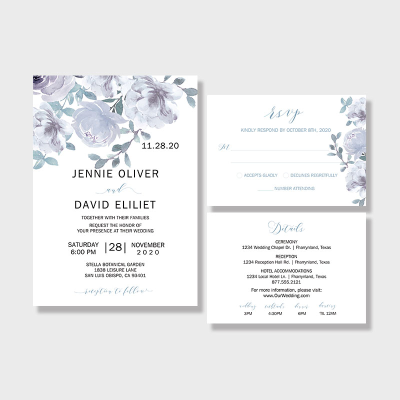 Soft Dusty Blue & Gray Watercolor Floral Wedding Invitations PWIF060