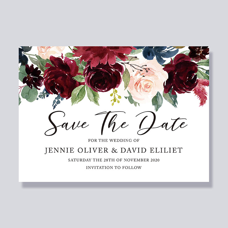 Elegant Watercolor Floral Save The Date Invitations PWIS007