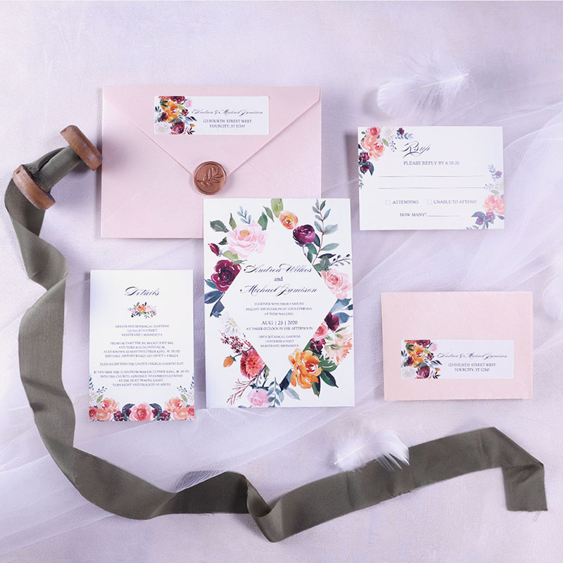 Garden Wedding Invitation With Geometric Pattern And Bright Flower Blooms PWIF062