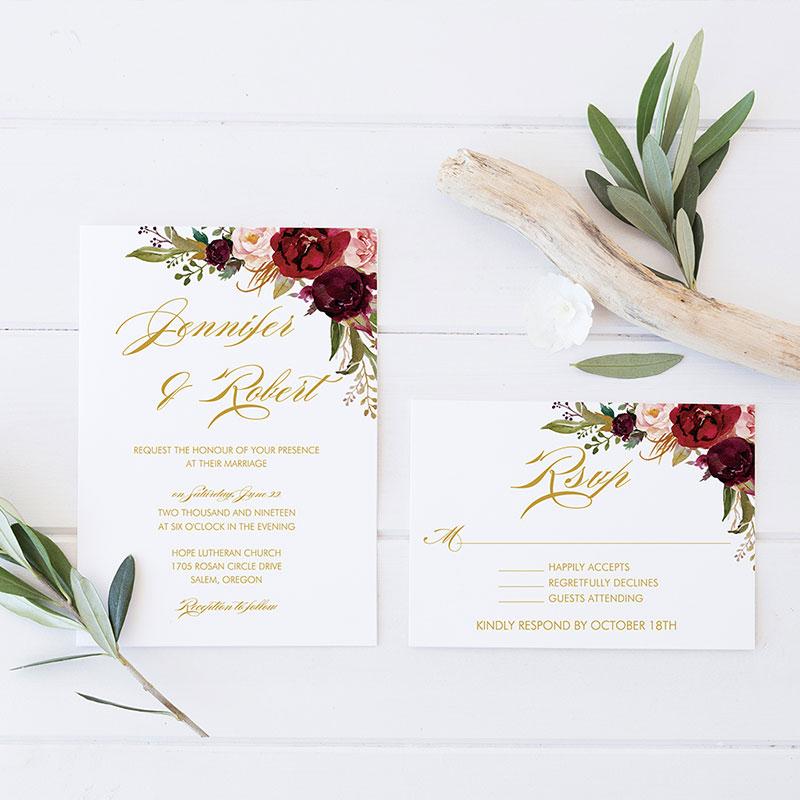 Boho Marsala Burgundy Floral Gold Lettered Wedding Invitations PWIF063