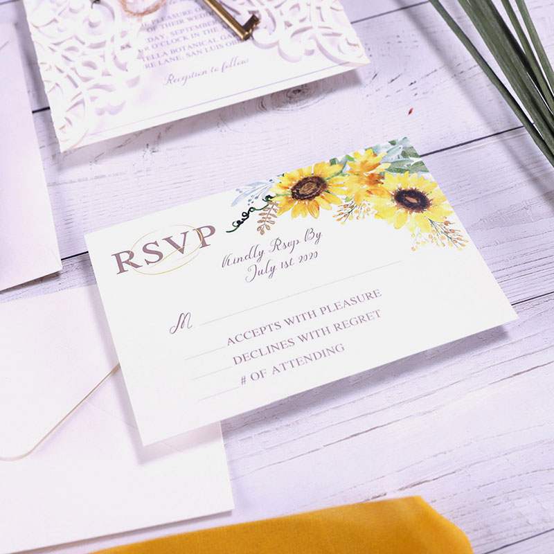 Elegant Watercolor Yellow Sunflower Laser Cut Wedding Invitations For Rustic Weddings PWIL121