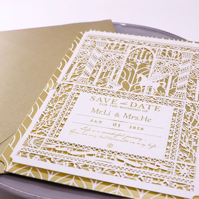 Romantic Gold Foil Laser Cut Save The Date Card PWIS009