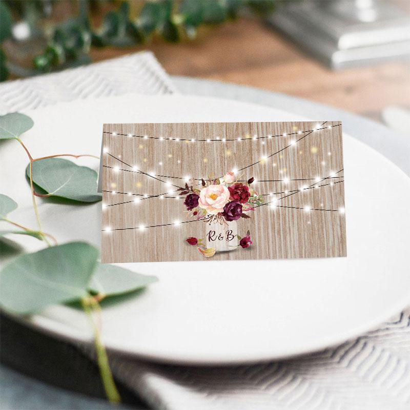 Burgundy Flowers Rustic Wood Mason Jar Wedding Place Card PWIW007