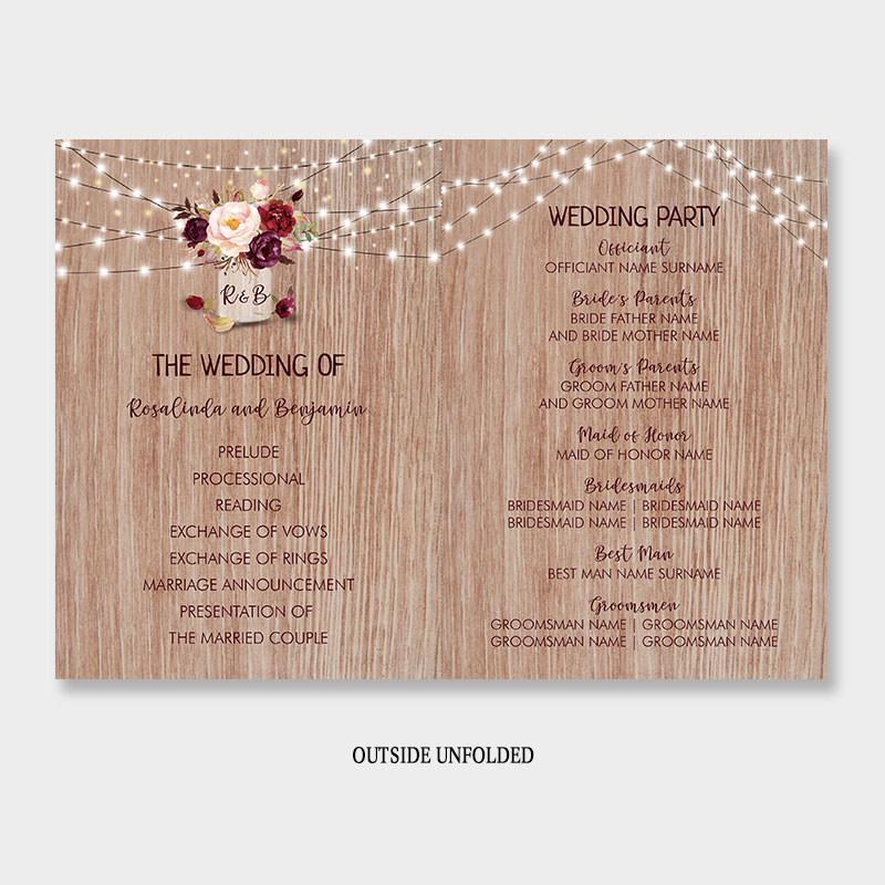 Burgundy Flowers Rustic Wood Mason Jar Wedding Program Fan PWIW008