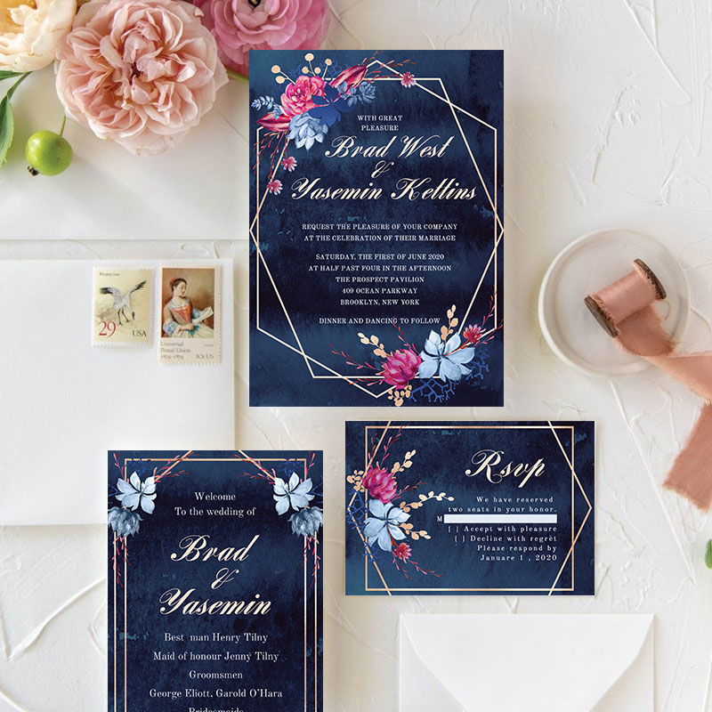 Moody Navy Watercolor Floral Wedding Invitation With Geometric Frame PWIF066