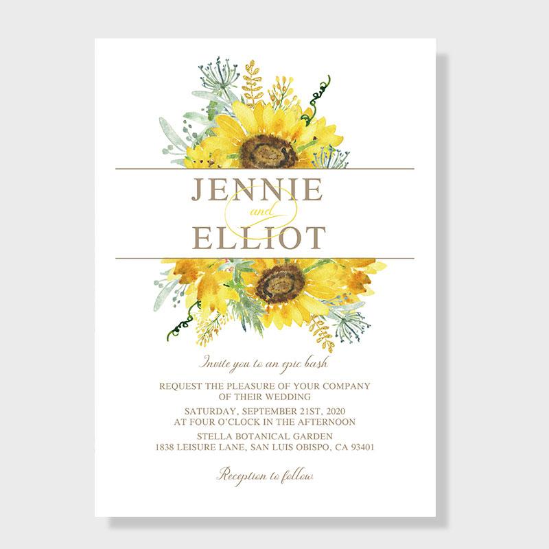 Elegant Watercolor Yellow Sunflower Wedding Invitations PWIF067