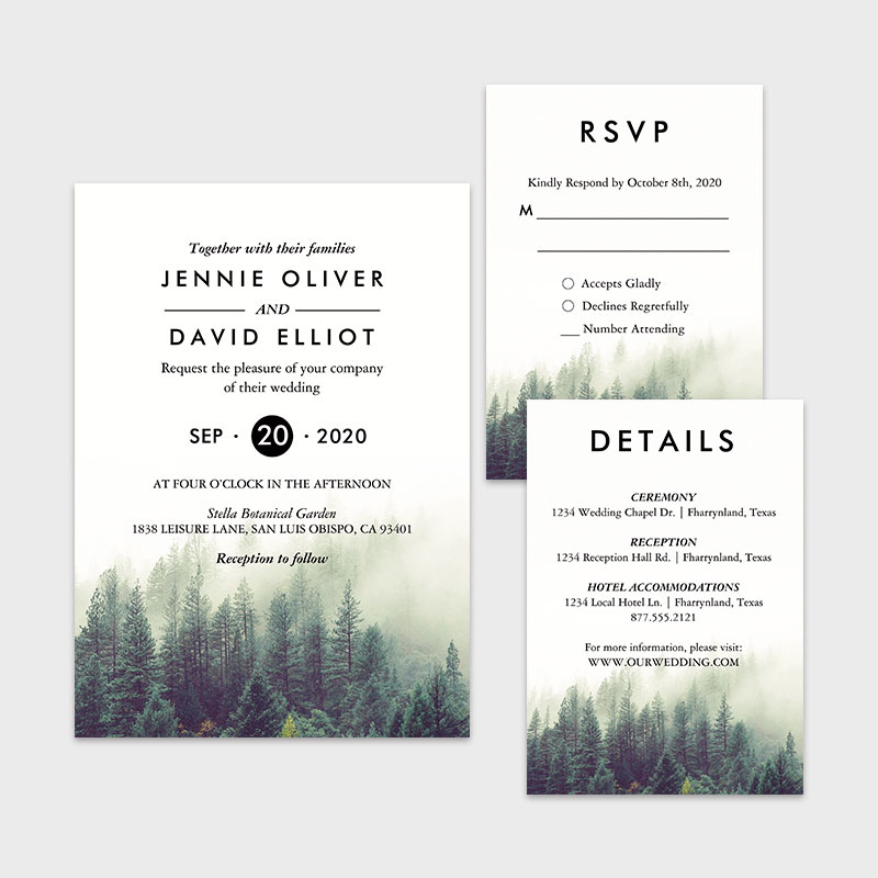 Rustic Mountain Forest Woodsy Forest Green wedding invitations