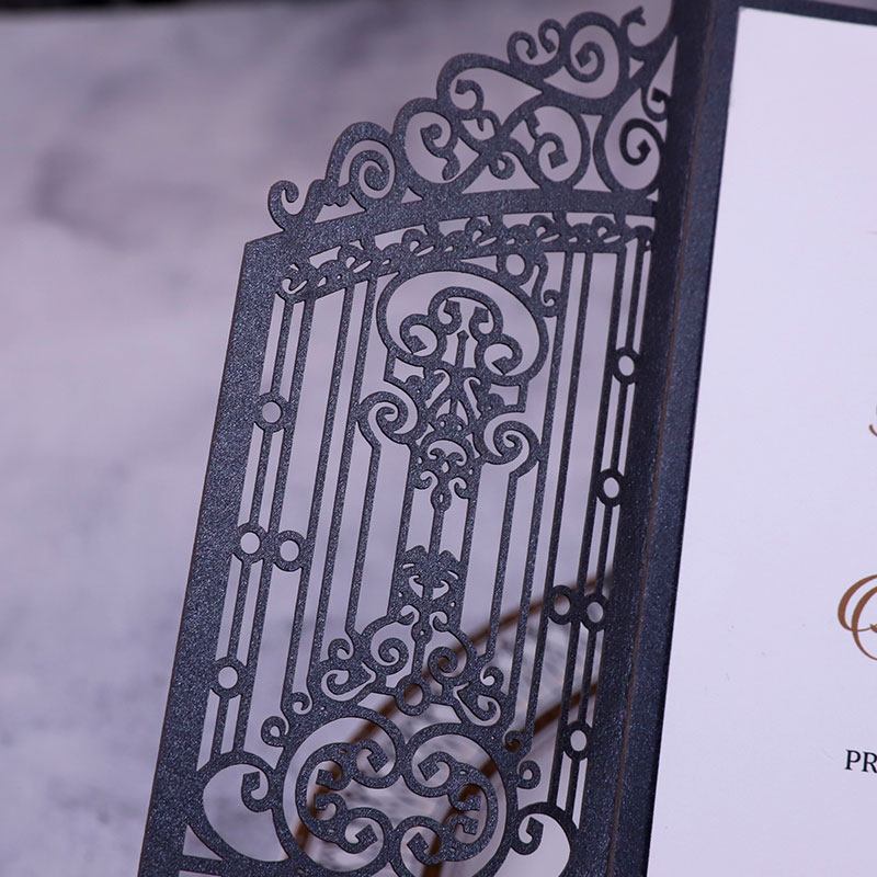 Vintage Intricate Black Laser Cut Gate-folded Wedding Invitation PWIL122