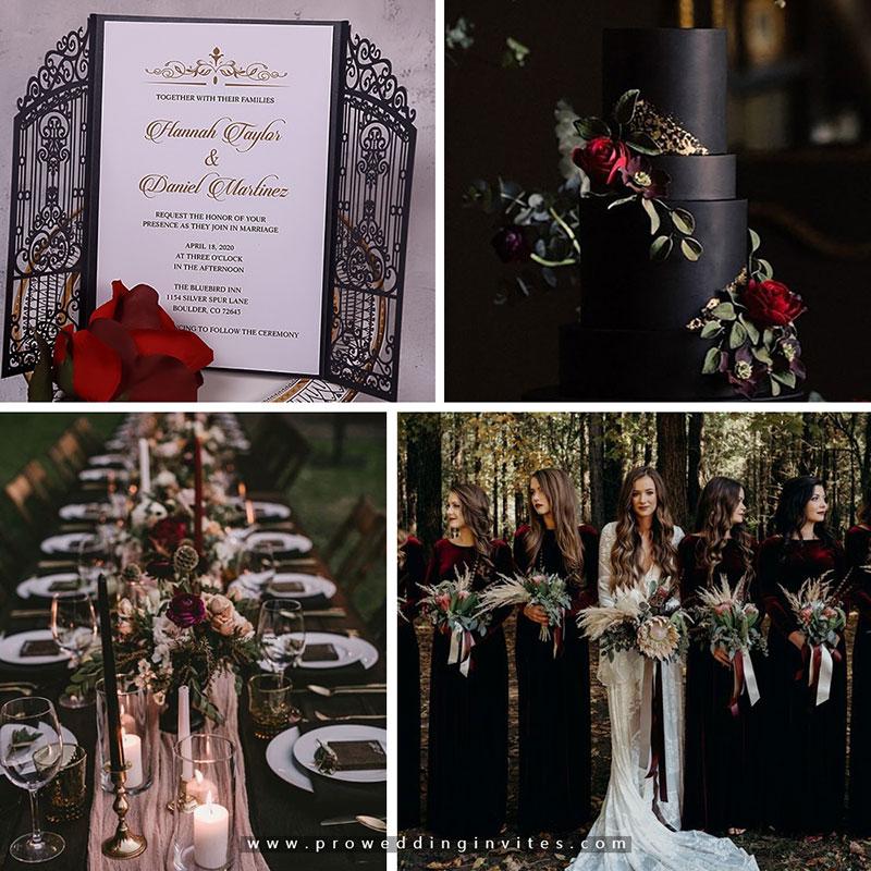 Vintage Intricate Black Laser Cut Gate-folded Wedding Invitation PWIL122