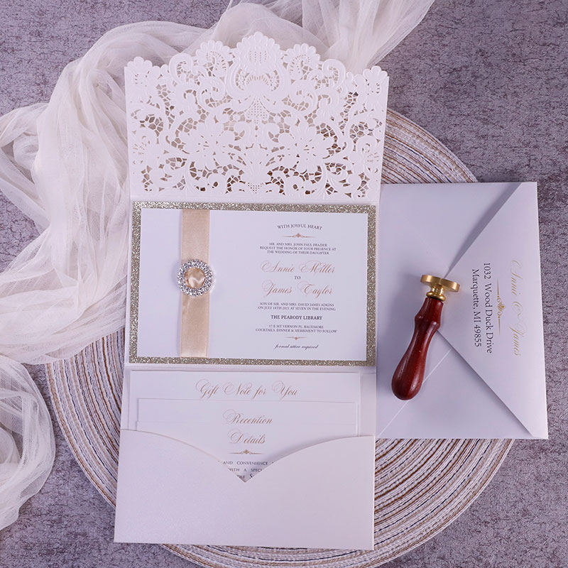 Formal Elegant Ivory And Champagne Gold Glittery Pocket Wedding Invitations With Bling Reinstone Pwil124 Pro Wedding Invites