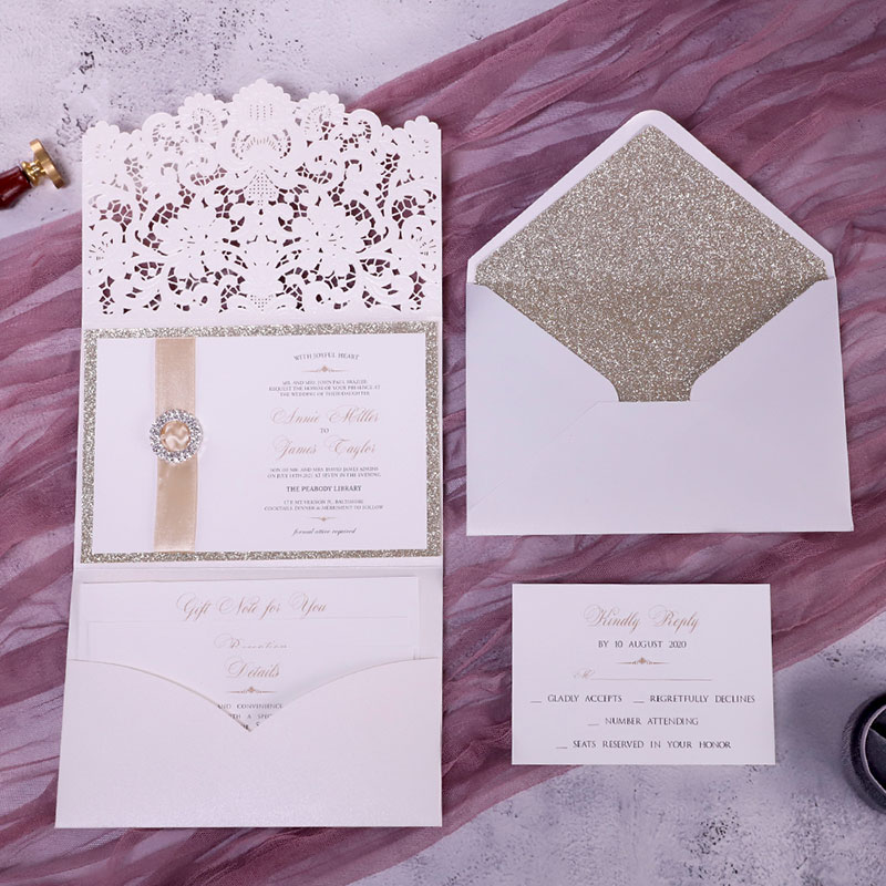 Formal Elegant Ivory And Champagne Gold Glittery Pocket Wedding Invitations With Bling Reinstone PWIL124