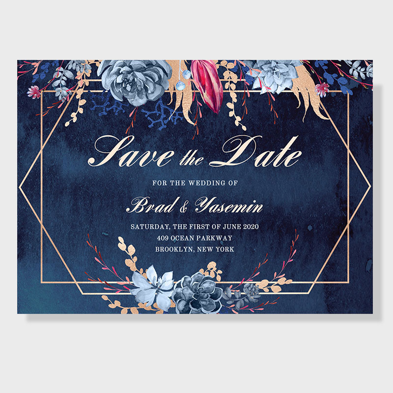 Moody Navy Watercolor Floral Save The Date Card With Geometric Frame PWIS010