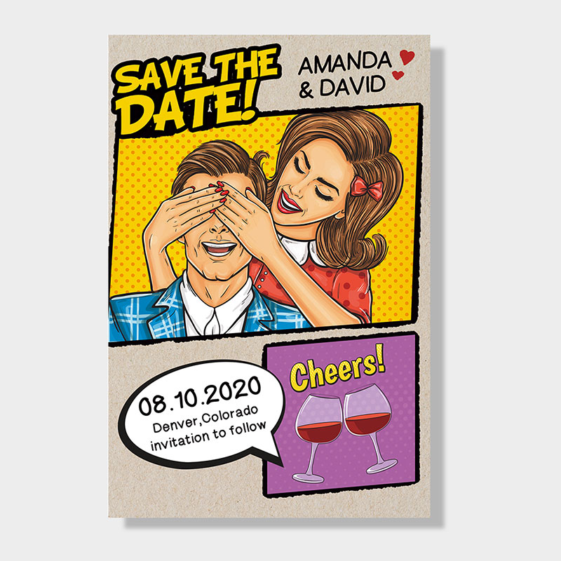 Unique Custom Comic Book Save The Date PWIS011