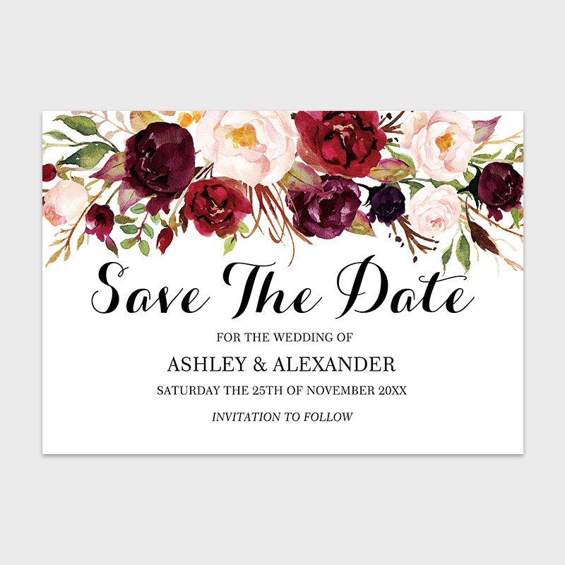 Burgundy Marsala Red Floral Save The Date Card PWIS013